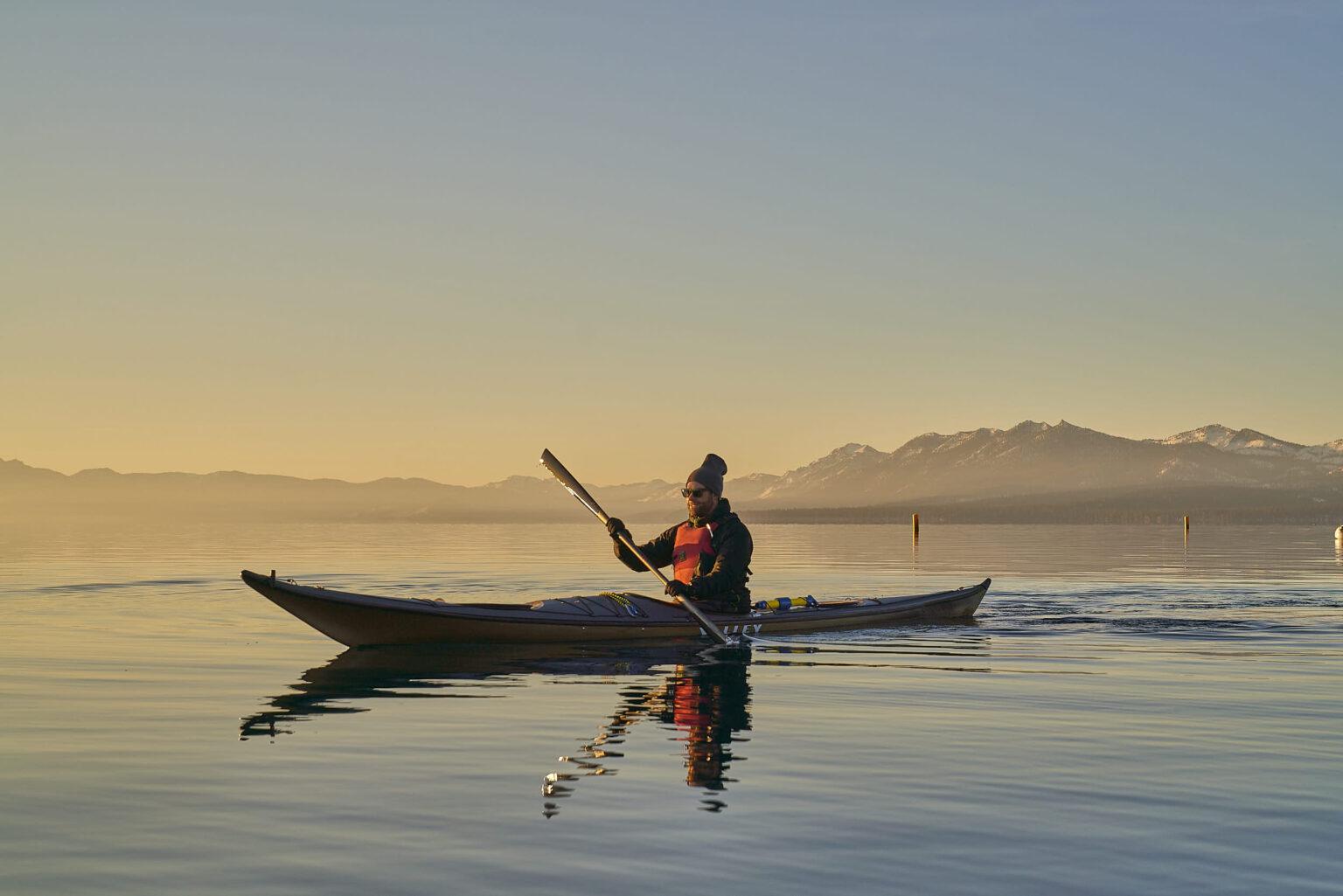 Bart Peterson kayaking on Lake Tahoe