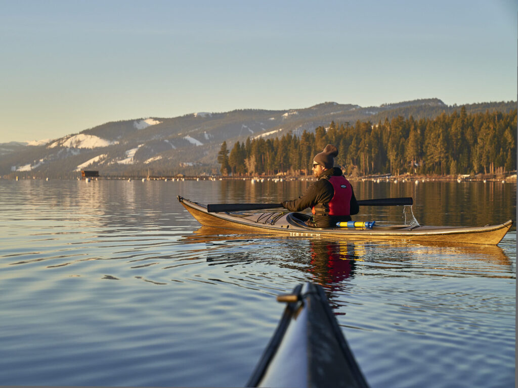Bart Peterson paddling on Lake Tahoe