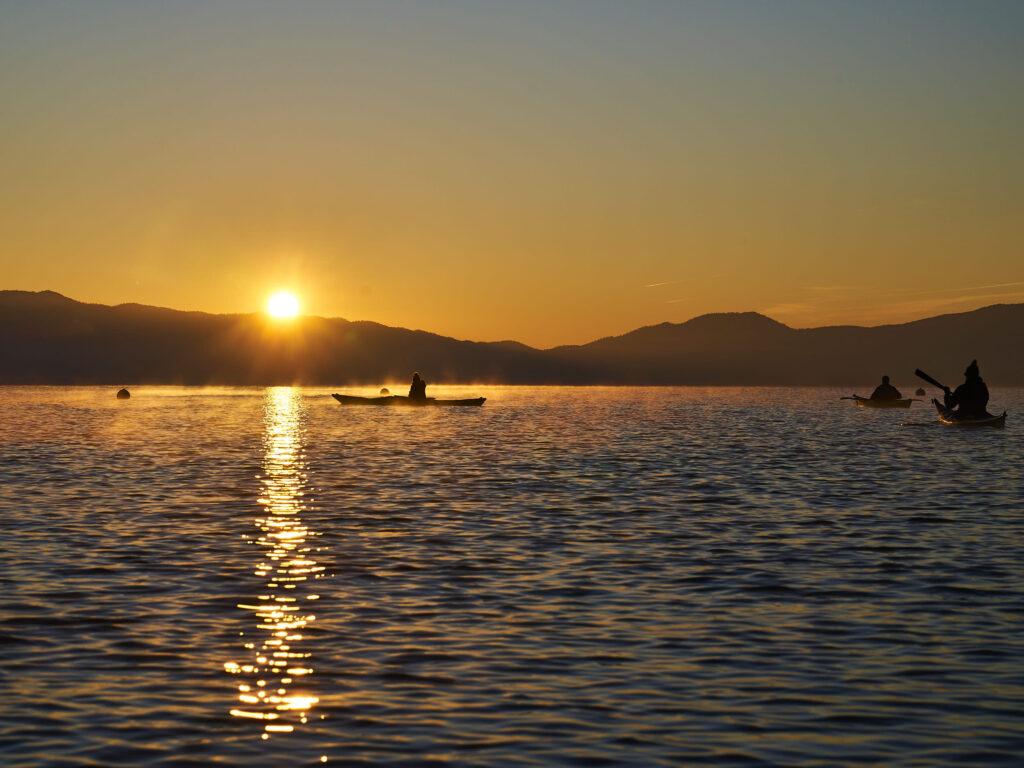 Sunrise on Lake Tahoe viewed from a kayak