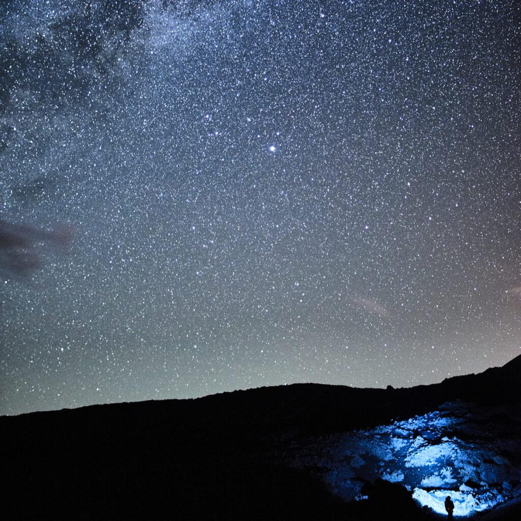 Light painting astrophotography on La Palma