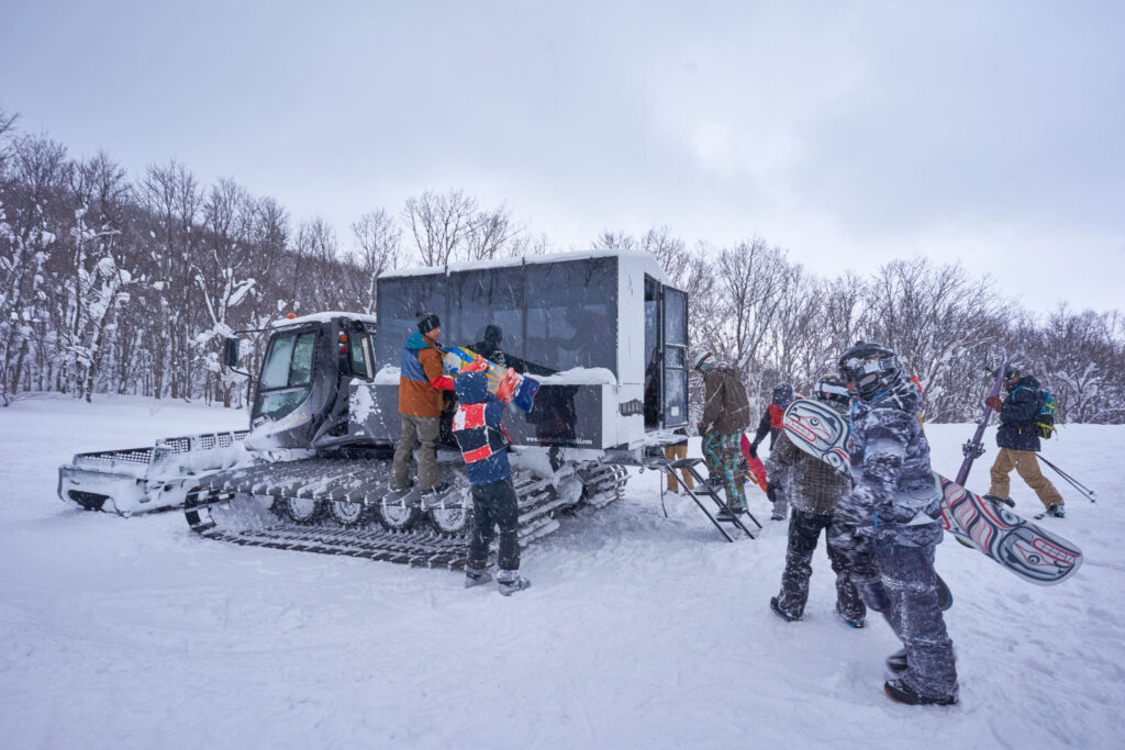 Loading into the snow cat at Iwani Japan on a powder day