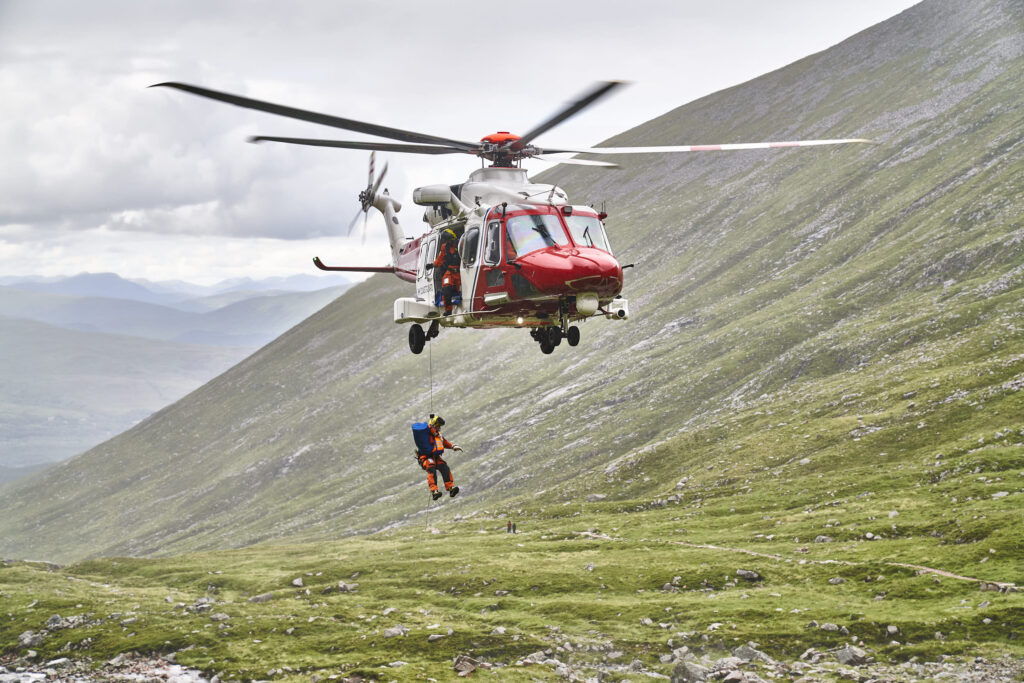 Climbing The North Face Of Ben Nevis helicopter evacuation