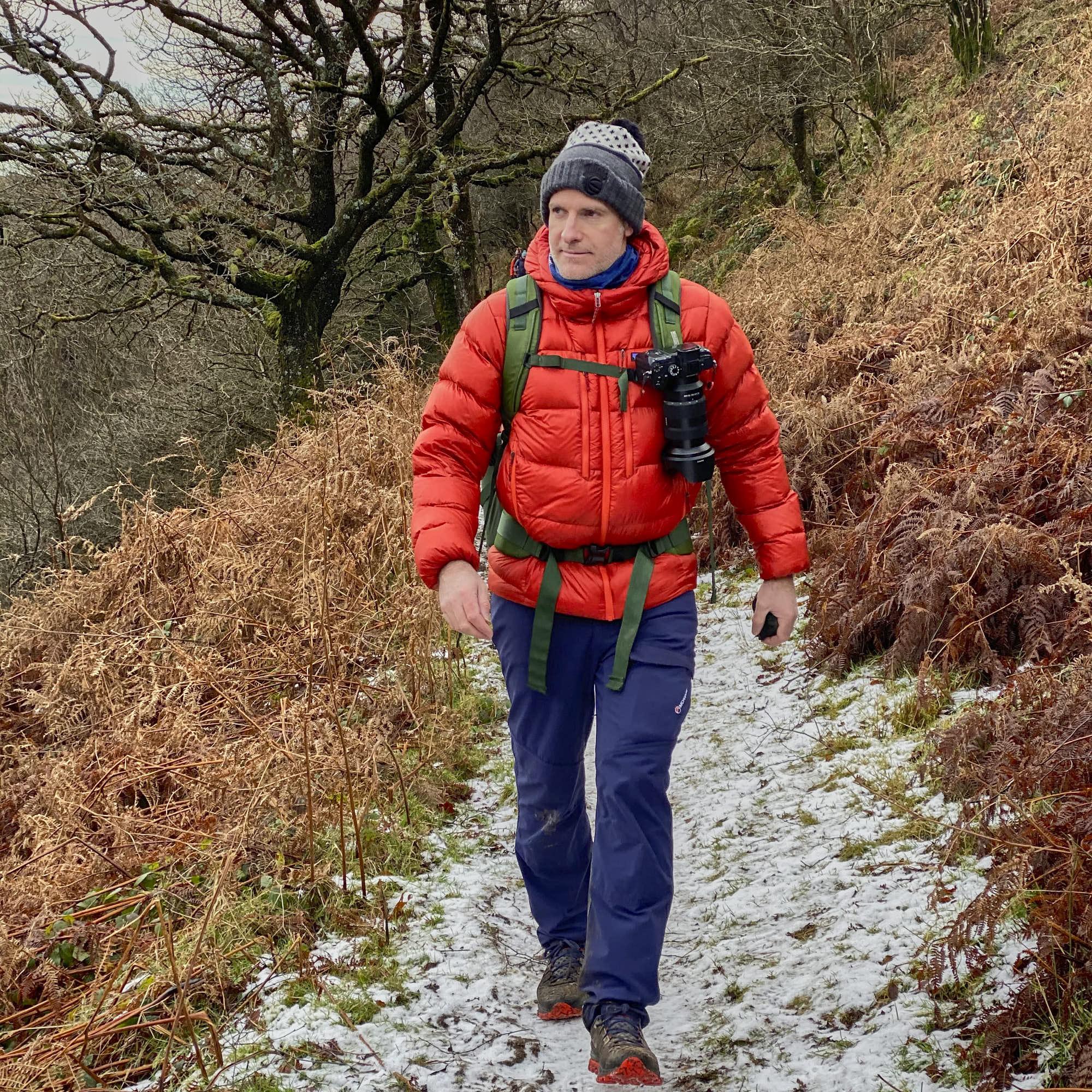 Matt Ray hiking a frozen Dartmoor wearing the Patagonia Fitz Roy Down Hoodie