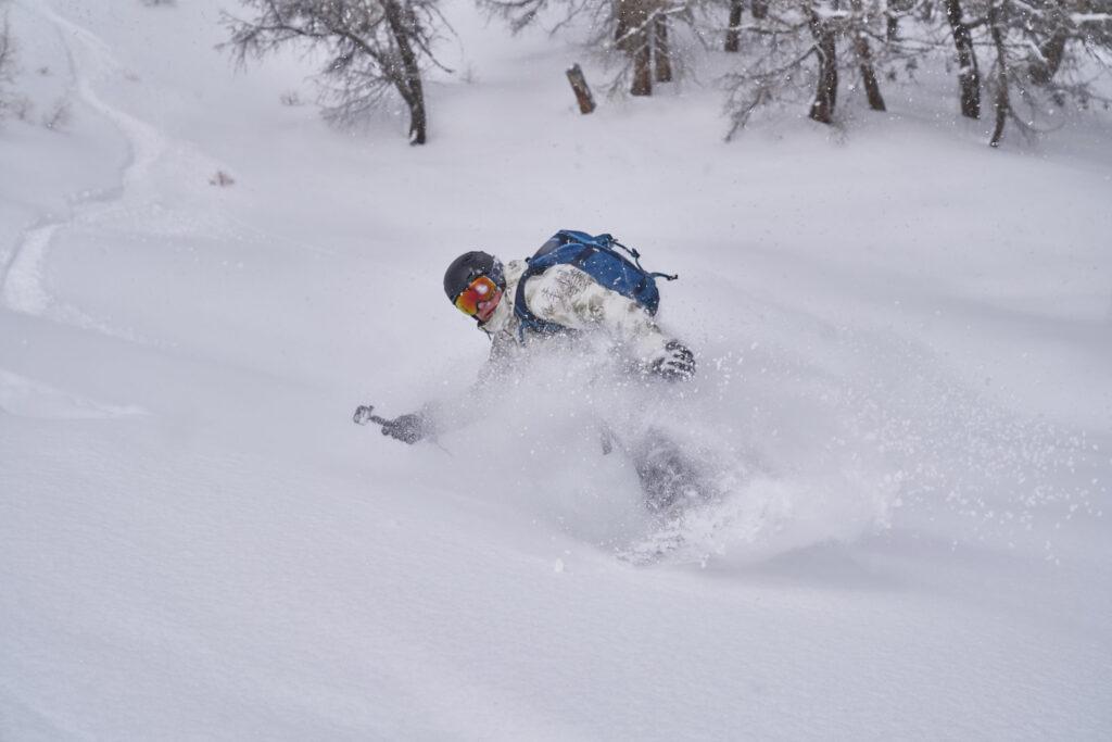Matt riding off piste in Crans Montana