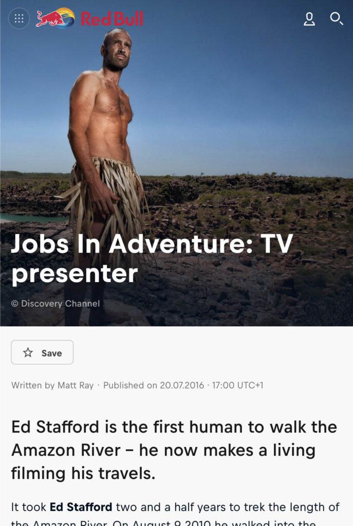 Jobs In Adventure: TV Presenter