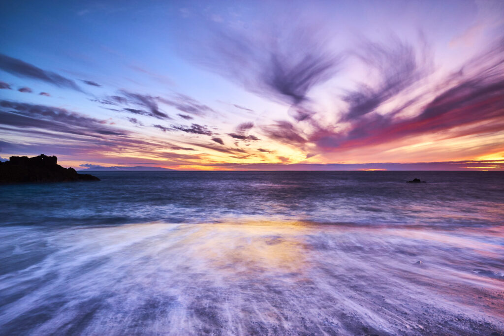 Sunset on the black sands of Playa del Faro, La Palma II