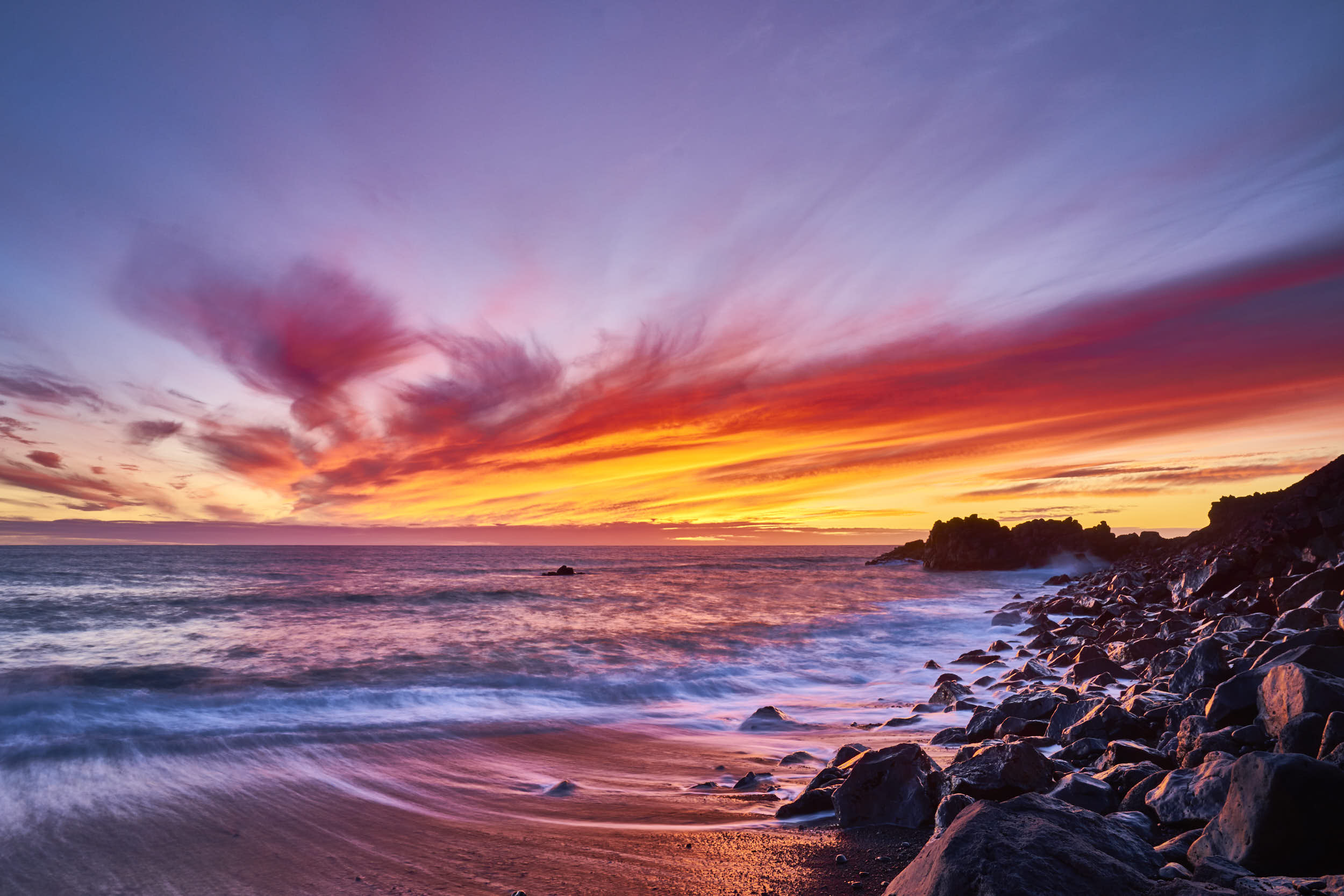 Sunset on Playa del Faro, La Palma