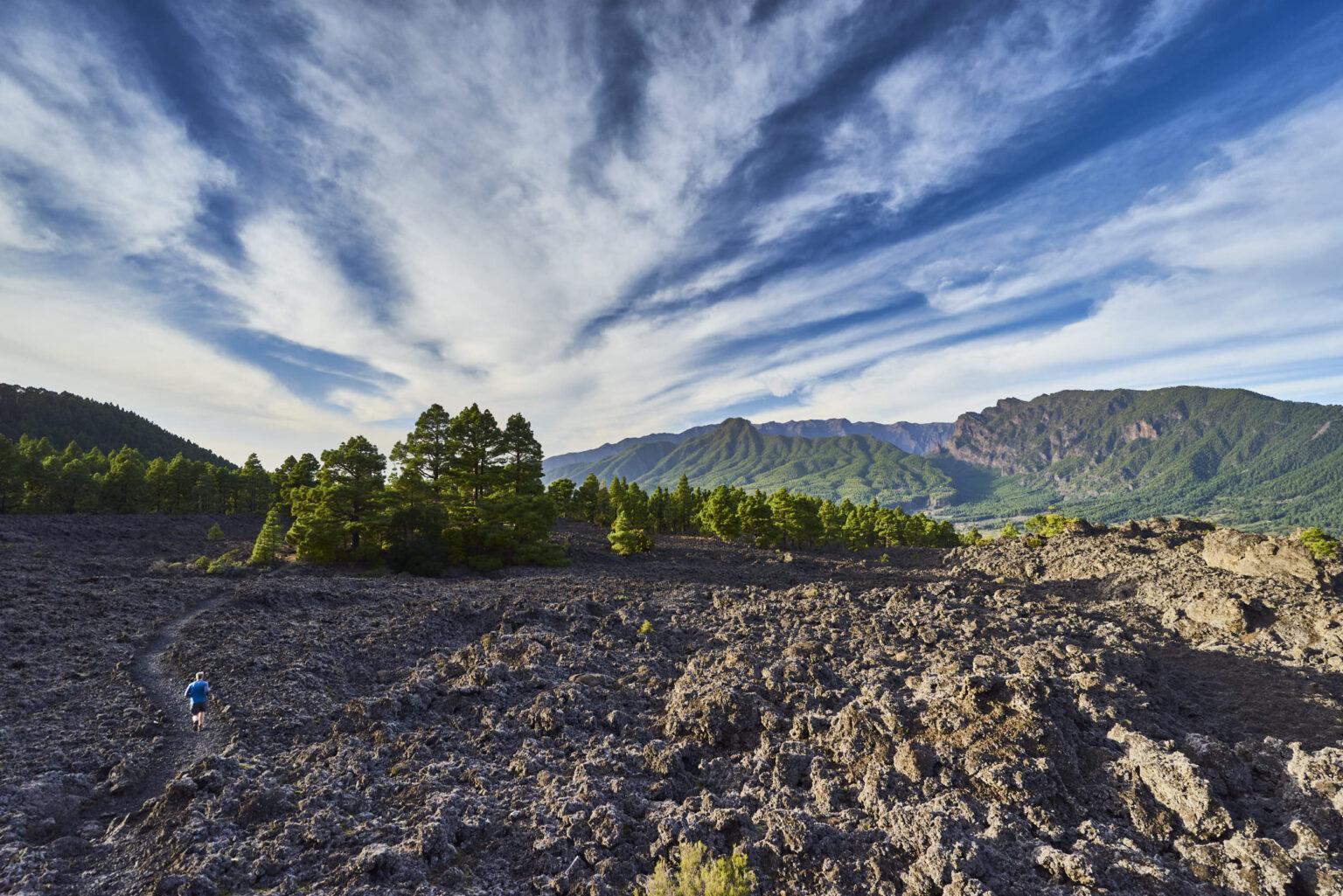 Trekking on lava fields in La Palma