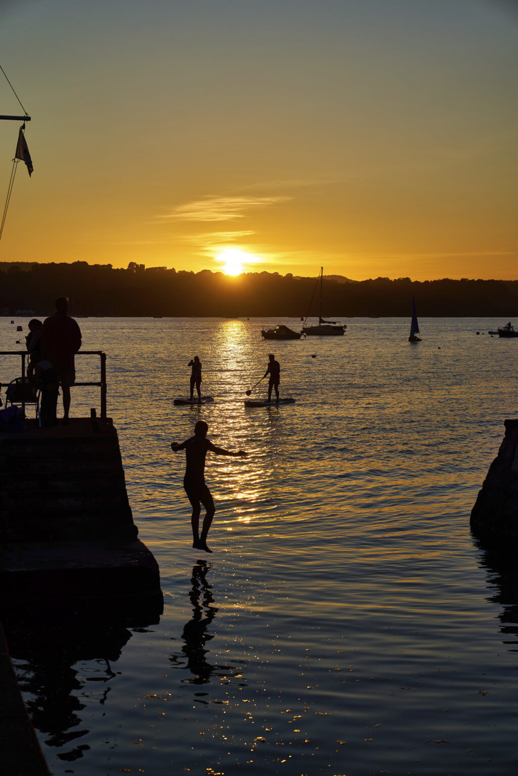 Sunset swim at Lympstone, Devon