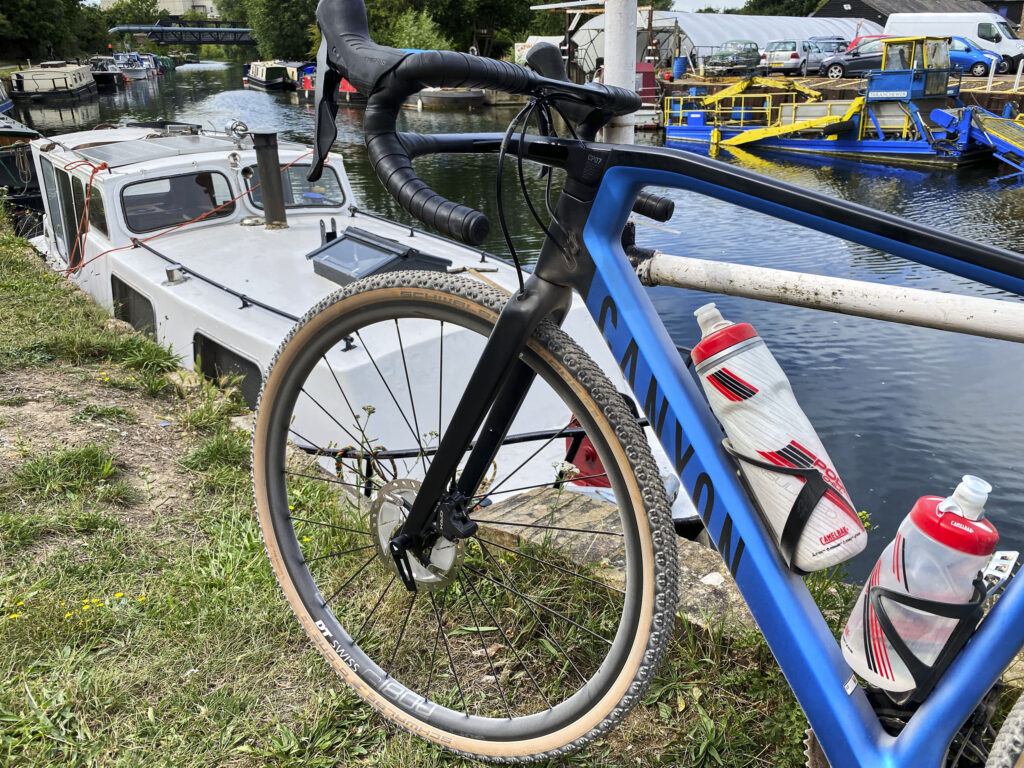 Canyon Grail gravel bike on River Lee Navigation